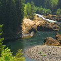 The Narrows swimming hole, Clackamas River, Oregon.- Volcanism, The Defining Feature of the Pacific Northwest