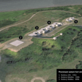 Fort Stevens aerial rendering of batteries and artillery gun station layout- Columbia River Harbor Defense System