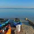 Gear and kayaks ready at the edge of the refuge.- Great White Heron National Wildlife Refuge
