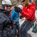 The rope loops sit higher to avoid any pressure on the belly.- Mountain Mama Climbing Harness by Mad Rock