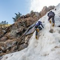 Making the most of the spring ice in Clear Creek Canyon.- Mountain Mama Climbing Harness by Mad Rock