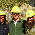 My husband, Dustin, and I with our crew leader volunteering in Yellowstone National Park on National Public Lands Day.- Woman In The Wild: Noami Grevemberg