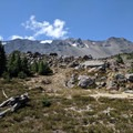 The PCT travels around the base of Diamond Peak.- Summit Trips Along the Pacific Crest Trail