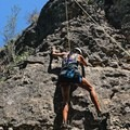 "I had a horrible fear of rock climbing, so I decided to get over my fear by joining the ""One Blood Initiative"" on a rock climbing trip at Reimers Ranch near Austin, Texas.- Woman In The Wild: Rosa Bianca Velasquez-Perez"
