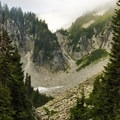 A view from Snow Lake up the pass toward Unicorn Peak with boulder fields in the foreground.- Embracing the Struggle