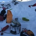 The WhisperLite at Motel 66 on Mount Joffre melting snow for a big day training in the alpine. - Gear Review: MSR Whisperlite Universal Stove