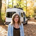 Laura in front of her camper van, Vanna White. Photo by Shane Eubank.- Woman In The Wild: Laura Hughes