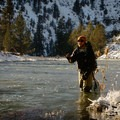 Author Derek Schroeder fishing on the Crooked River.- Cold Fish and Cold Feet — Winter on the Crooked River