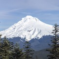 The view of Mount Hood from the deck of the Devils Peak Lookout on a clear day.- Testing the Casio Pro Trek at Devils Peak