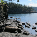 Rocky shoreline at Spring Bay on Orcas Island during high tide.- Washington's 20 Best Beaches