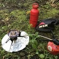 Running the stove with the canister inverted. The simmering works great in this mode. - Gear Review: MSR Whisperlite Universal Stove