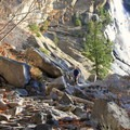 Hiking below Nevada Falls.- Exploring Yosemite Valley in Fall