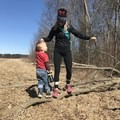Balancing acts while testing out our LSO merino wool base layer. - On Raising a Child in the Outdoors