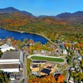 Ariel view of Lake Placid, NY.- 15 Stunning Photos of Autumn in the Adirondacks