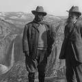 John Muir and Theodore Roosevelt at Glacier Point overlooking Yosemite Falls, 1906. Photo from the Library of Congress.- 8 Fitting Places to Celebrate John Muir