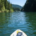 Paddling the NRS Big Earl on the North Fork Reservoir.- Gear Review: NRS Big Earl Stand-up Paddleboard