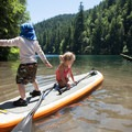 Kids can learn the basics of paddleboard balance with low consequences.- Gear Review: NRS Big Earl Stand-up Paddleboard