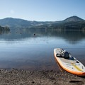 Paddling the NRS Big Earl on Dexter Reservoir.- Gear Review: NRS Big Earl Stand-up Paddleboard