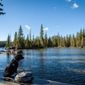 Enjoying views of Diamond Peak from the Big Earl on Summit Lake.- Gear Review: NRS Big Earl Stand-up Paddleboard