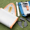 The package includes the board, a K-pump, a repair kit, and fin setups for deep and shallow water.- Gear Review: NRS Big Earl Stand-up Paddleboard