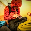 Taking a break and checking our location prior to heading to the summit of Mount Audubon.- Gear Review: Rab Superlite Shelter 4