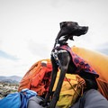 Our dog emerging from the bothy after a quick break from the wind on Mount Audubon.- Gear Review: Rab Superlite Shelter 4