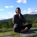 Teaching outdoor yoga on conservation land in the Berkshires of Massachusetts. Photo by Evelyn Garvey.- Woman In The Wild: Tracy Remelius