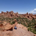 Descending to Double O Arch.- 5 Must-do Hikes in Arches National Park