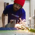 Deviation's Peter Wells finishes skis.- Deviation Skis Partners With Outdoor Project