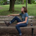 Rocking the Alpenglow Collective tee. Photo by Katey Bisso.- Woman In The Wild: Emily Mannisto