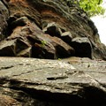 The sheer rock face of the Chimney.- Exploring Chimney Mountain in the Adirondacks
