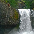 Rappeling Final Falls in the Salmon River Canyon, some of the most extreme whitewater in Oregon.- Rivers of Oregon