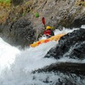Kayaking over waterfalls in Salmon River Canyon.- Rivers of Oregon