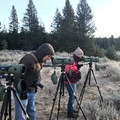 Cheryl and Rick viewing the wolves through spotting scopes.- Wolf Tracking in Yellowstone National Park