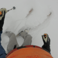Headcam showing off the Helis about to drop into a line. - Gear Review: Hestra Army Leather Heli Ski Three Finger Glove