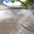 The floor is made of a heavy duty canvas held in form by the poles.- Gear Review: Treepod 6-foot Cabana