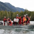 Wetsuweten leaders heading to Lelu Island. Photo courtesy of Wild Salmon Center.- Protecting the Skeena River's Past and Future