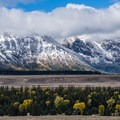 The Grand Tetons seen from the road to Yellowstone.- Wolf Tracking in Yellowstone National Park
