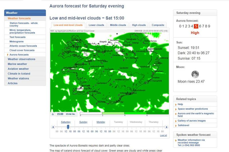 Screen capture of the Aurora Forecast over Iceland